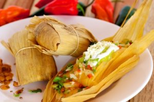 mexican food, Tamale, filled cornmeal dumpling steamed in a corn husk or banana leaf